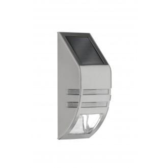 WOFI 4051.01.97.7000 | Cupido Wofi zidna svjetiljka svjetlosni senzor - sumračni prekidač solarna baterija 1x LED 23lm 6000K IP44 brušeni čelik