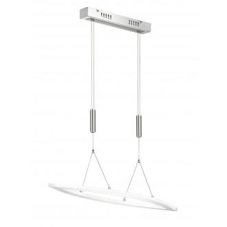 WOFI 615401546000 | Nevil Wofi visilice svjetiljka s impulsnim prekidačem balansna - ravnotežna, sa visinskim podešavanjem, jačina svjetlosti se može podešavati 1x LED 2300lm 3000K poniklano mat, krom