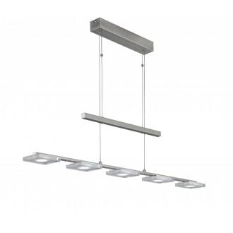 WOFI 7254.05.64.0000 | Vileta Wofi visilice svjetiljka balansna - ravnotežna, sa visinskim podešavanjem, jačina svjetlosti se može podešavati 5x LED 1800lm 3000K poniklano mat
