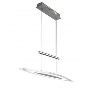 WOFI 7275.01.64.0000 | Avignon Wofi visilice svjetiljka balansna - ravnotežna, sa visinskim podešavanjem, jačina svjetlosti se može podešavati 1x LED 1700lm 3000K poniklano mat, prozirno, bijelo