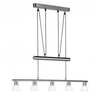 WOFI 7292.05.64.0000 | Bram Wofi visilice svjetiljka balansna - ravnotežna, sa visinskim podešavanjem 5x LED 1300lm 3000K poniklano mat, bijelo