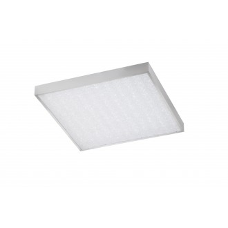 WOFI 9135.01.70.7600 | Glam Wofi stropne svjetiljke svjetiljka četvrtast daljinski upravljač jačina svjetlosti se može podešavati, sa podešavanjem temperature boje 1x LED 3100lm 2700 <-> 6500K srebrno, bijelo, učinak kristala