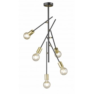 WOFI 9255.05.10.8000 | Tanil-York Wofi stropne svjetiljke svjetiljka elementi koji se mogu okretati 5x E27 crno, zlatno
