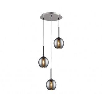ZUMA LINE MD1629-3BCH | Monic Zuma Line visilice svjetiljka 3x E14 krom, dim, prozirno