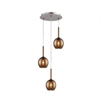 ZUMA LINE MD1629-3BCO | Monic Zuma Line visilice svjetiljka 3x E14 krom, crveni bakar, prozirno