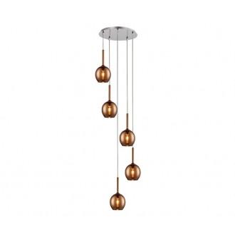ZUMA LINE MD1629-5BCO | Monic Zuma Line visilice svjetiljka 5x E14 krom, crveni bakar, prozirno