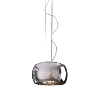 ZUMA LINE P0076-03E | CrystalZL Zuma Line visilice svjetiljka okrugli s mogućnošću skraćivanja kabla 3x G9 krom, dim, prozirno