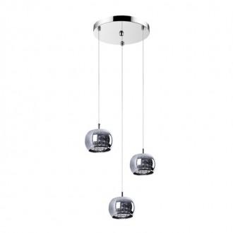 ZUMA LINE P0076-03M | CrystalZL Zuma Line visilice svjetiljka okrugli 3x G9 krom, dim, prozirno