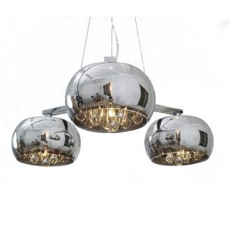ZUMA LINE P0076-03R | CrystalZL Zuma Line visilice svjetiljka okrugli s mogućnošću skraćivanja kabla 3x G9 krom, dim, prozirno