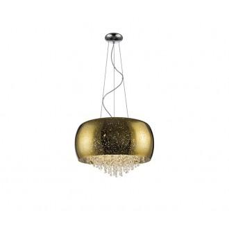 ZUMA LINE P0076-06K-F4GQ | Vista Zuma Line visilice svjetiljka okrugli s mogućnošću skraćivanja kabla 6x G9 zlatno, kristal, svjetlucavi