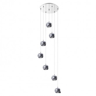 ZUMA LINE P0076-07M | CrystalZL Zuma Line visilice svjetiljka okrugli 7x G9 krom, dim, prozirno