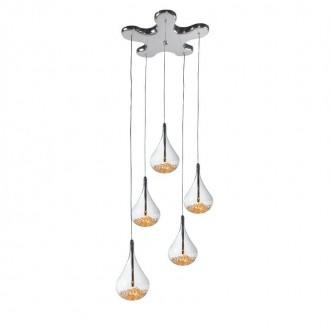ZUMA LINE P0226-05B | Perle Zuma Line visilice svjetiljka kapsula 5x G4 krom, prozirno, kristal