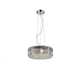 ZUMA LINE P0360-05B-F4AC | Prince Zuma Line visilice svjetiljka okrugli s mogućnošću skraćivanja kabla 5x G9 krom, prozirno, kristal