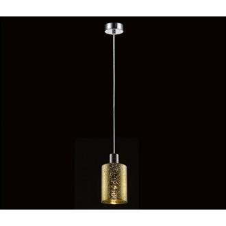 ZUMA LINE P0369-01AGO | Pioli Zuma Line visilice svjetiljka cilindar s mogućnošću skraćivanja kabla 1x E27 krom, zlatno, svjetlucavi