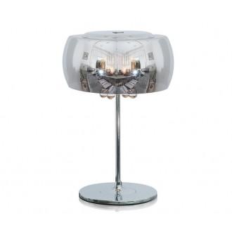 ZUMA LINE T0076-03E | CrystalZL Zuma Line stolna svjetiljka okrugli 42cm sa prekidačem na kablu 3x G9 krom, dim, prozirno