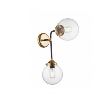 ZUMA LINE W0454-02D | Riano Zuma Line zidna svjetiljka 2x E27 zlatno, crno, prozirno